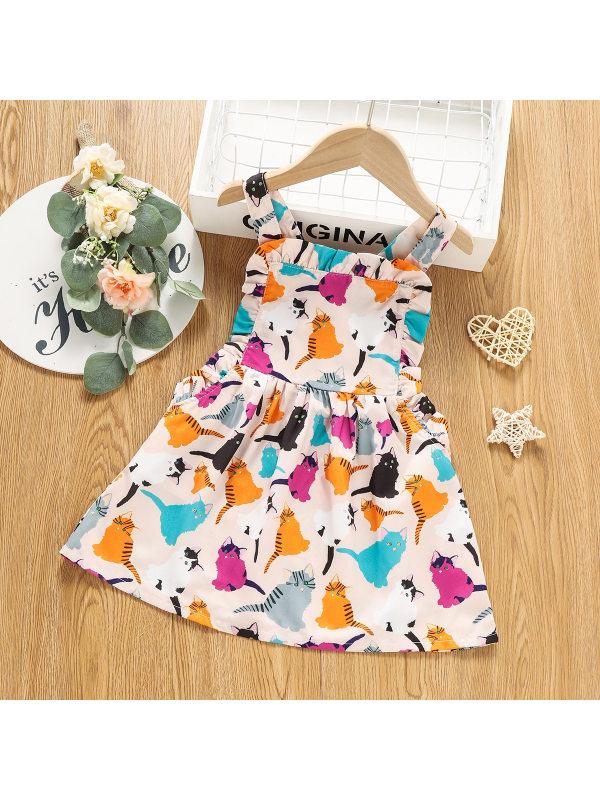 【18M-6Y】Girls Cartoon Cat Print Sleeveless Strap Dress
