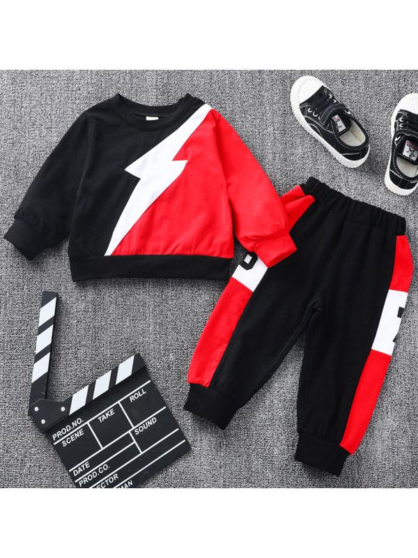 【12M-5Y】 Casual Lightning Pattern Long Sleeve Sweatshirt Set