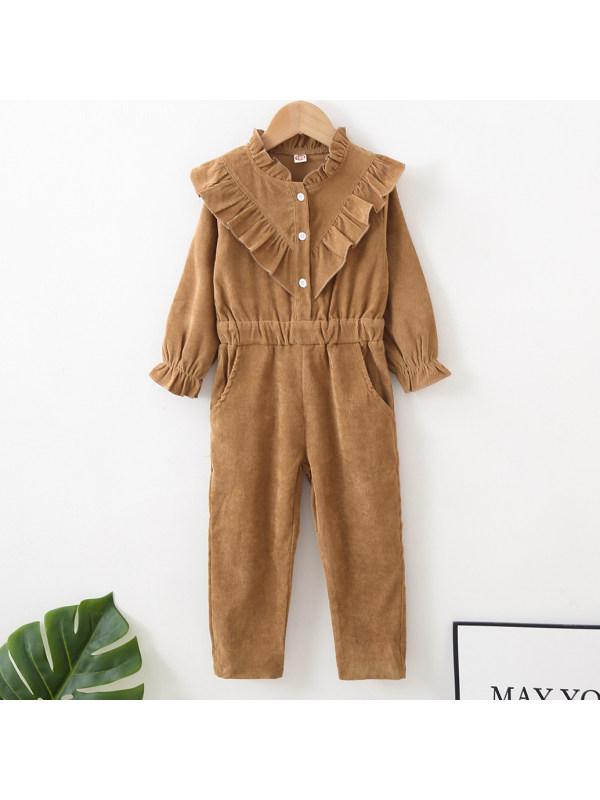 【18M-7Y】Sweet Ruffled Brown Long Sleeved Jumpsuit