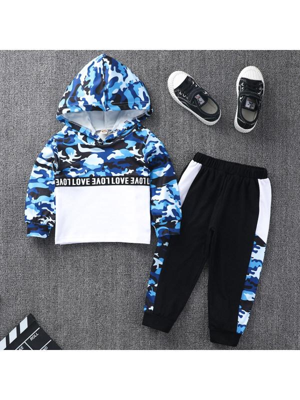 【18M-8Y】Casual Blue Camouflage Hooded Sweatshirt Set