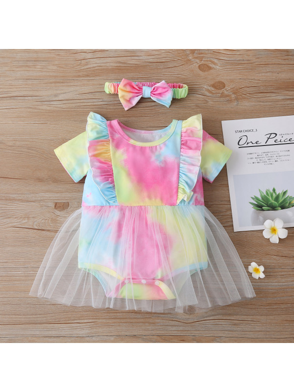 【6M-24M】Smudged Ruffled Net Yarn with Hair Band Triangle Romper