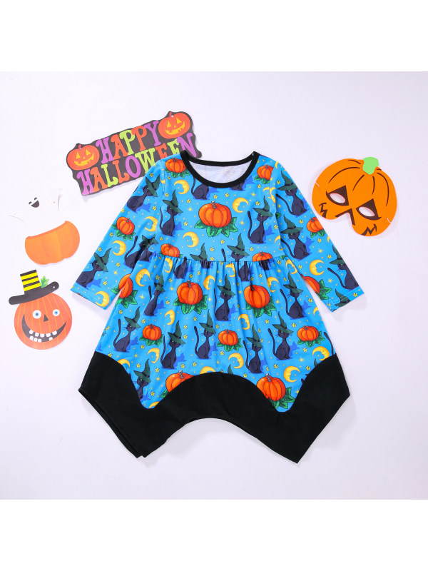 【12M-5Y】Girls Long Sleeve Halloween Pumpkin Contrast Color Dress