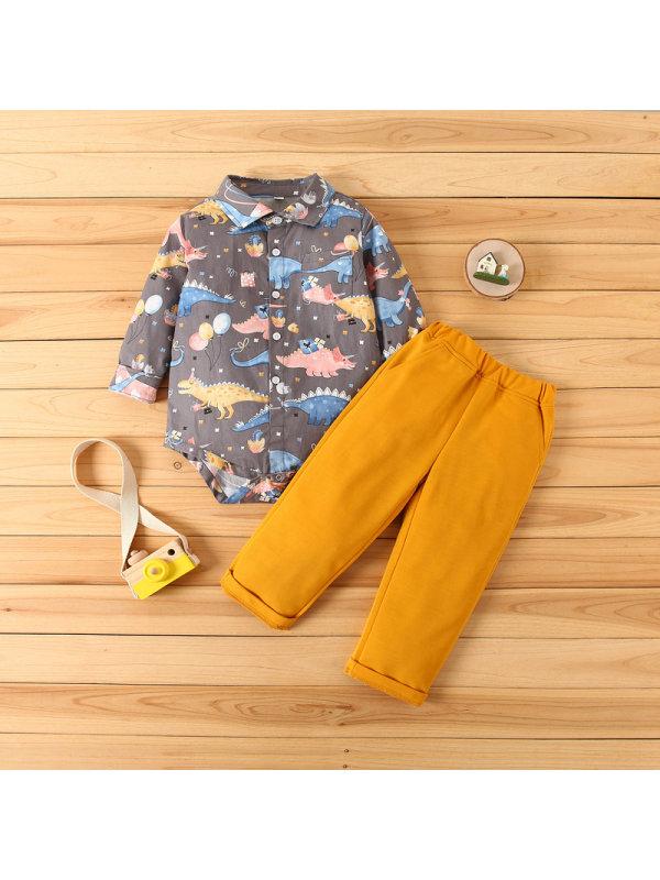【6M-3Y】Boys Dinosaur Print Shirt and Pants Suit