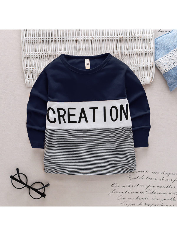 【18M-7Y】Boys Contrast Color Stitching Letter Printing Long Sleeve T-shirt