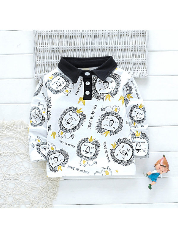 【18M-7Y】Boys Long Sleeve Cartoon Print POLO Shirt