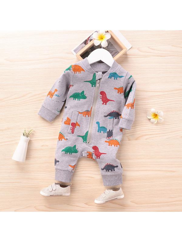 【6M-3Y】Baby Cartoon Little Dinosaur Little Rhino Pattern Zipper Jumpsuit