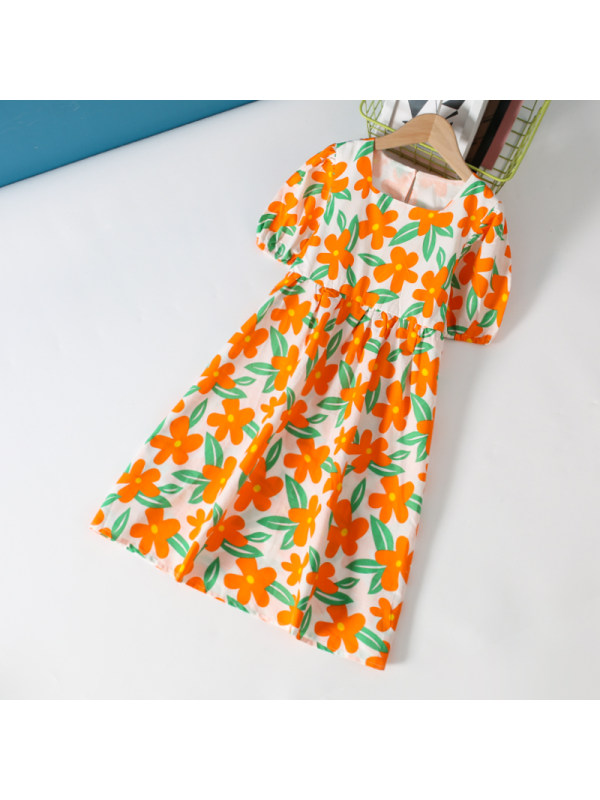 【3Y-13Y】Girls' Floral Bubble Short Sleeve Dress