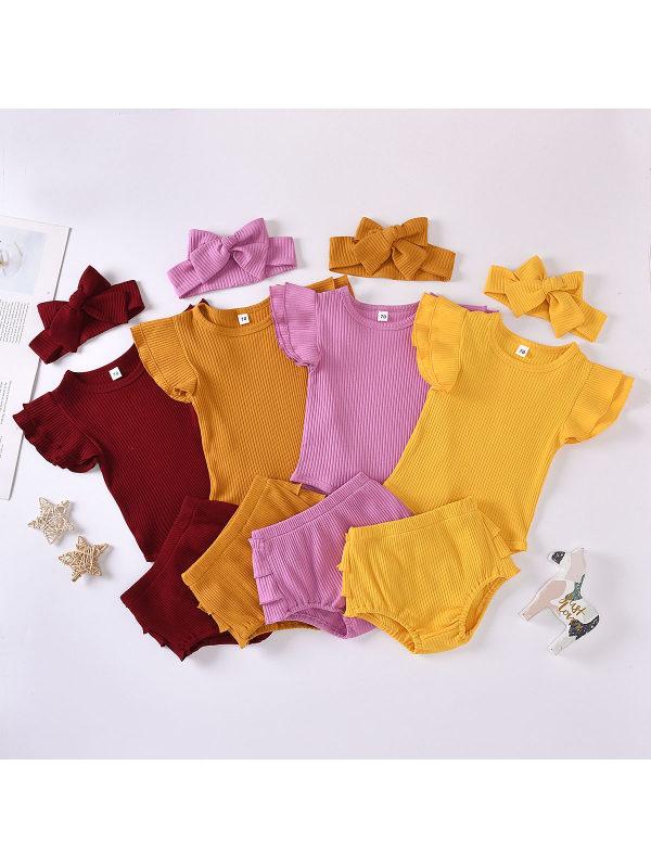 【6M-3Y】Baby Girl Pit Strip Lace Raglan Sleeve Romper Suit