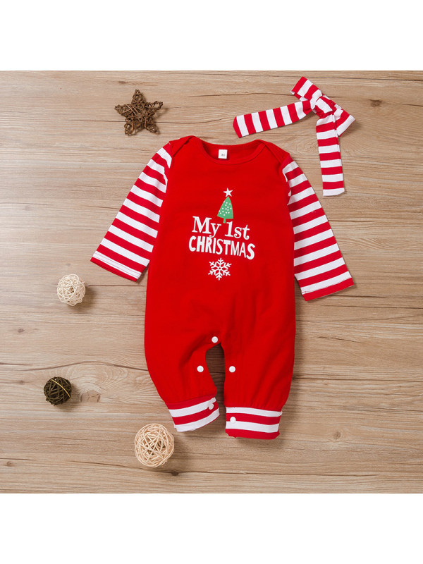 【6M-3Y】Casual Cute Christmas Jumpsuit With Headgear For Infants And Toddlers