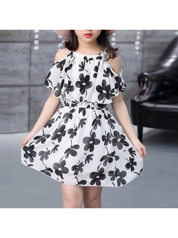 【3Y-13Y】Girls' Floral Sling Strapless Dress