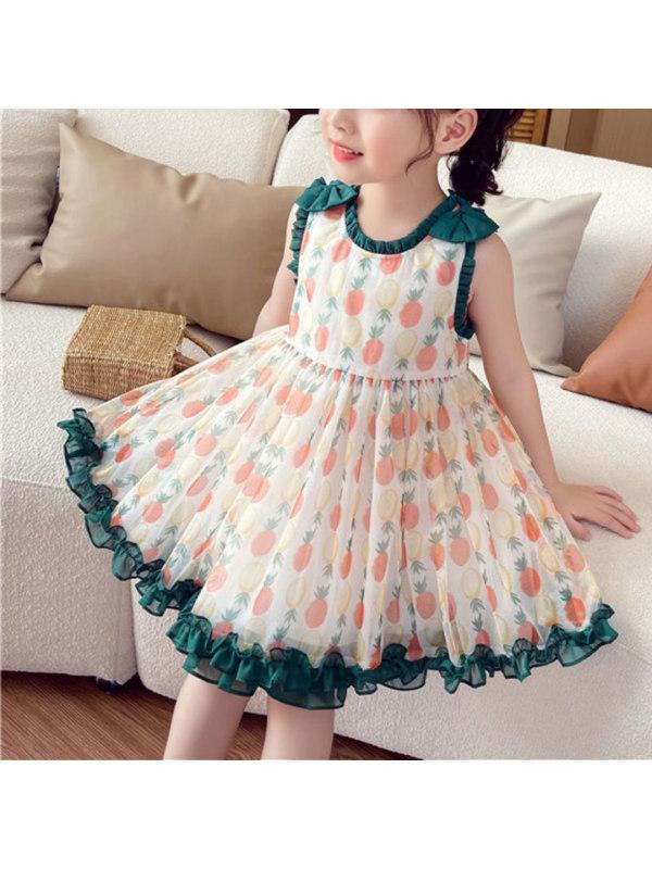 【3Y-13Y】Girls' Net Gauze Printed Vest Princess Dress