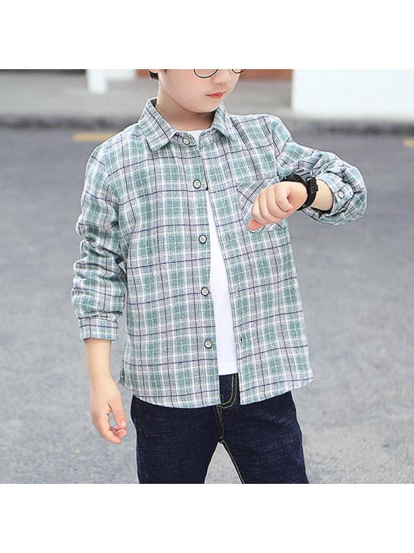 【3Y-15Y】Boys Casual Plaid Long Sleeve Shirt