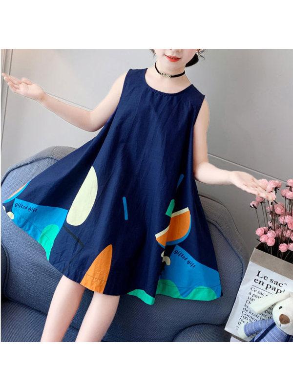 【3Y-13Y】Girls' Print Chiffon Tank Top Dress
