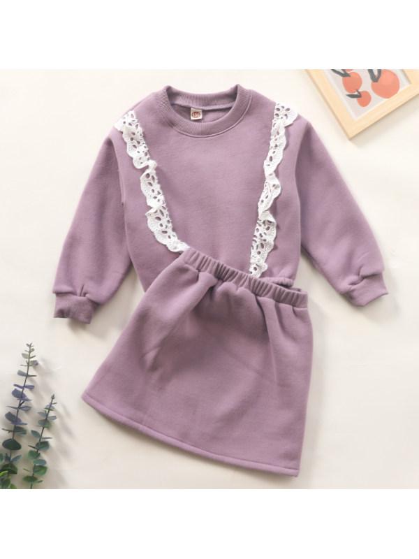 【18M-7Y】Sweet Lace Purple Sweatshirt Set