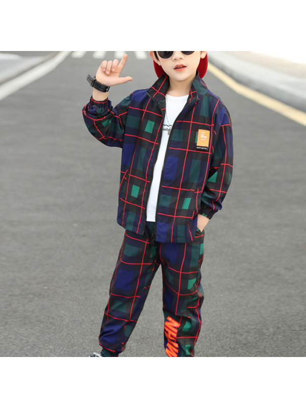 【3Y-13Y】Boy's Plaid Jacket Casual Trousers Two-piece Suit