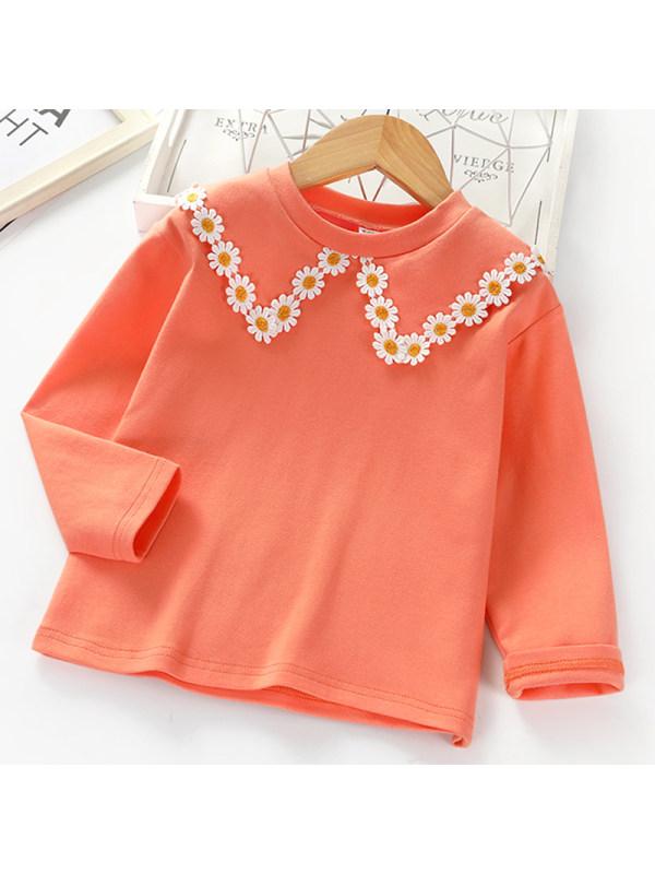 【2Y-7Y】Girl Sweet Orange Lace Long-sleeved T-shirt