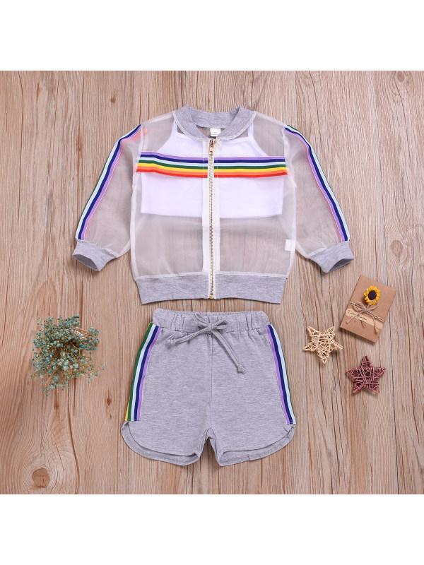 【12M-5Y】Girls Rainbow Zipper Coat Camisole Shorts Three-piece Sunscreen Suit