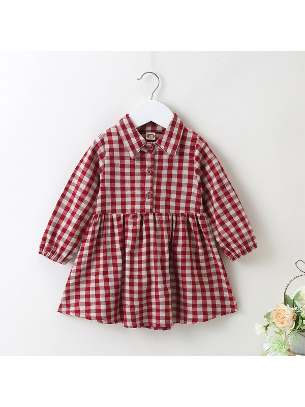 【6M-2.5Y】Baby Girl Red Plaid Lapel Dress