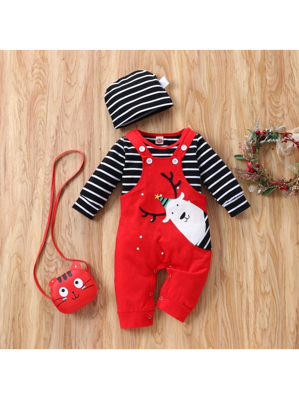 【3M-24M】Baby Christmas Long-sleeved Striped Elk Three-piece Set with Hat