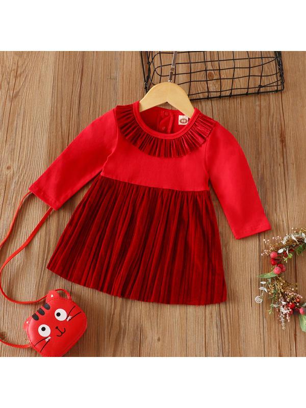 【12M-4Y】Girl Red Long-sleeved Dress