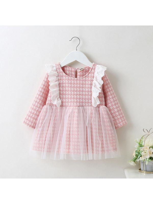 【6M-24M】Girl Small Fragrant Wind Ruffled Mesh Dress