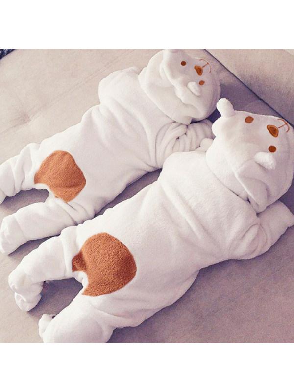 【3M-24M】Baby White Plush Long-sleeved Zipper Hooded Romper
