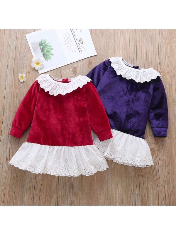 【6M-3Y】Girl Long-sleeved Ruffle Lace Dress