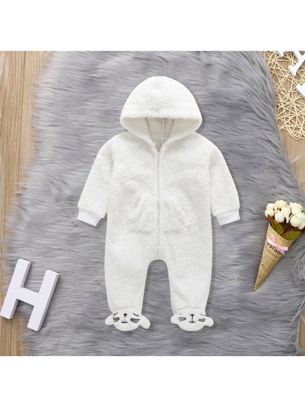 【3M-24M】Baby Cat Embroidery Plush Zipper Long-sleeved Romper
