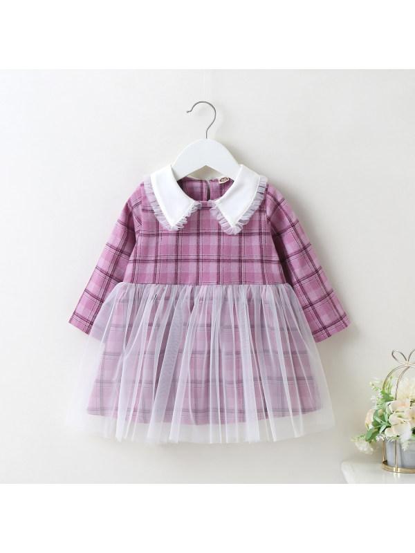 【6M-24M】Girl Net Yarn Lace Collar Plaid Dress