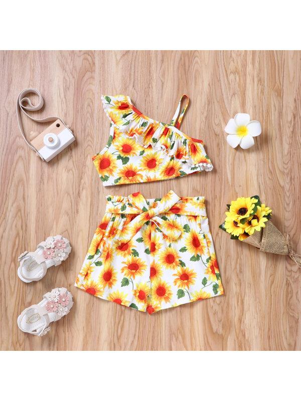 【18M-7Y】Girls Sling Sunflower Print Suit