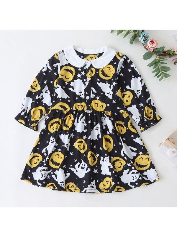 【12M-5Y】Girls Doll Collar Halloween Pumpkin Long Sleeve Dress