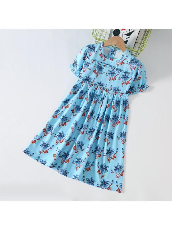 【3Y-11Y】Girls Chiffon Print Short Sleeve Dress