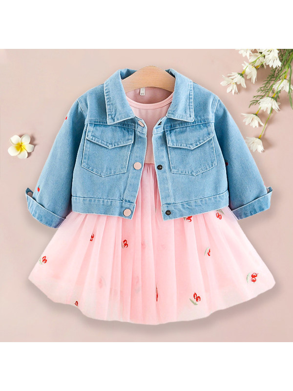 【18M-7Y】Sweet Pink Mesh Dress And Cherry Denim Jacket Set