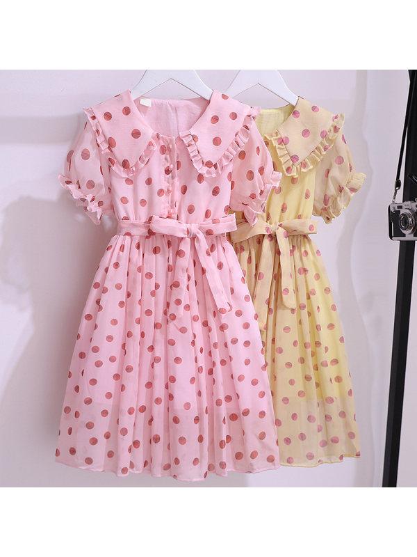 【3Y-13Y】Girls Polka Dot Doll Collar Short Sleeve Dress