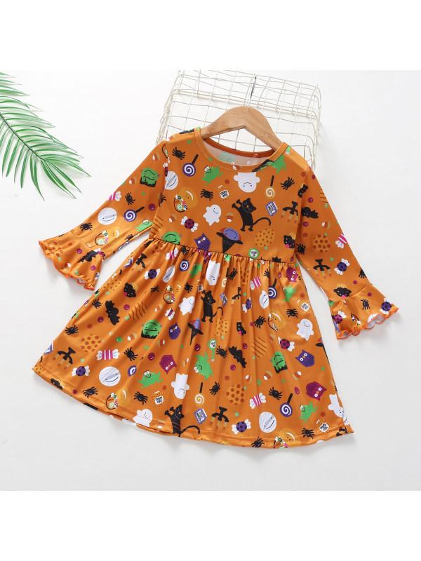 【2Y-6Y】Halloween Print Flared Sleeves Dress