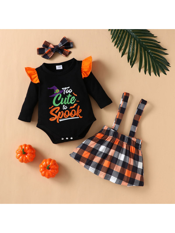 【3M-24M】Baby Long-sleeved Halloween Plaid Suspender Dress Two-piece Suit