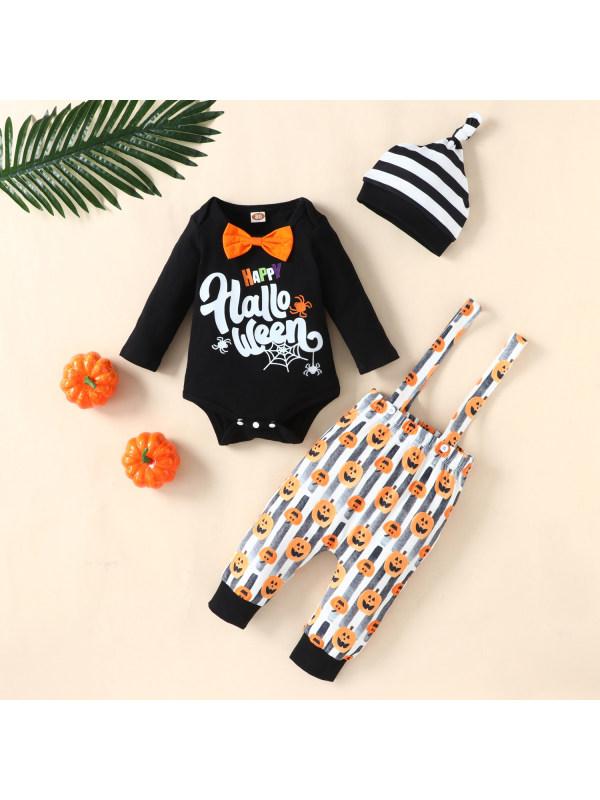 【6M-3Y】Baby Long-sleeved Halloween Suspender Three-piece Set