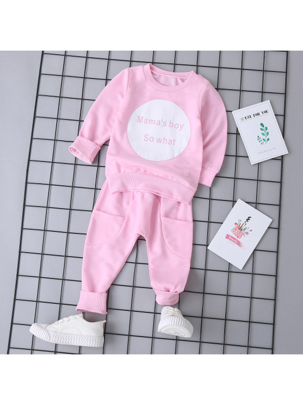 【12M-5Y】Girls' Circle Letters Solid Color Long-sleeved Suit