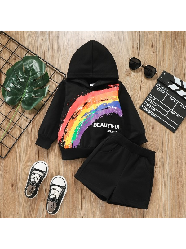 【18M-5Y】Boys Rainbow Graffiti Hooded Sweatshirt and Shorts Two-piece Suit