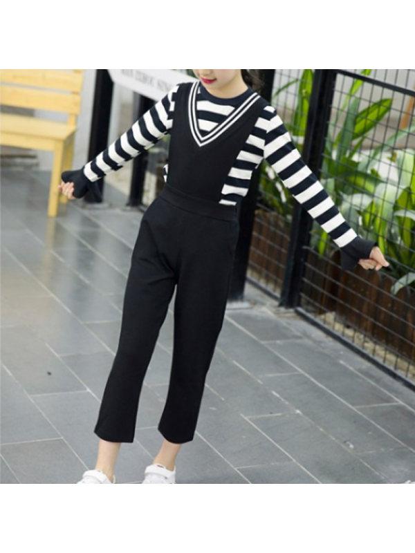 【3Y-13Y】Girls Striped T-shirt Bib Two-piece Suit