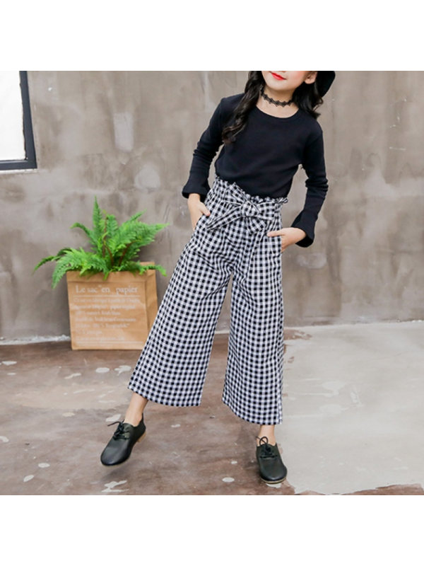 【3Y-13Y】Girls Long-sleeved T-shirt Plaid Pants Suit