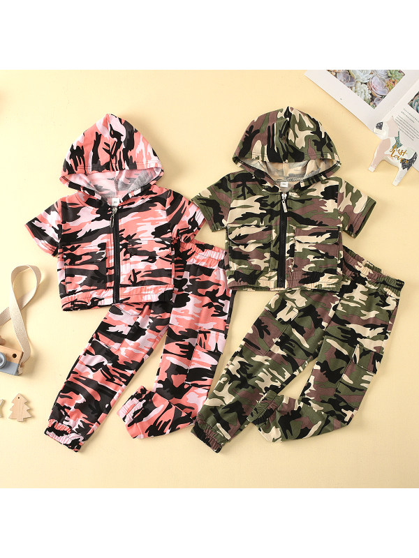 【12M-5Y】Girls Short-sleeved Hooded Zipper Camouflage Suit