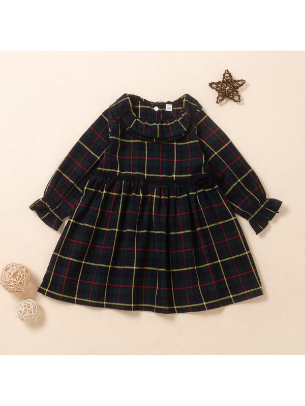【18M-6Y】Girls Plaid Retro British Long Sleeve Dress