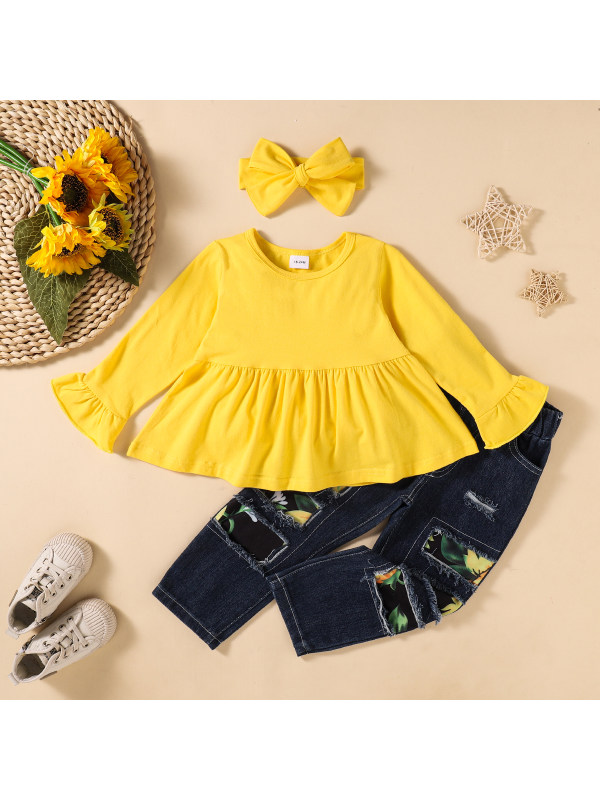 【18M-6Y】Girls Doll Top Patch Jeans Three-piece Suit