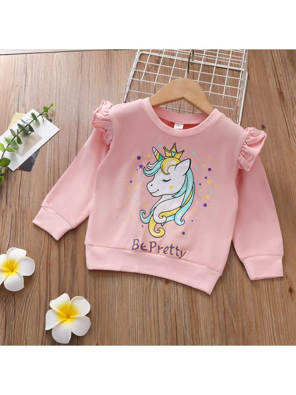 【2Y-9Y】Girls Unicorn Print Sweatshirt