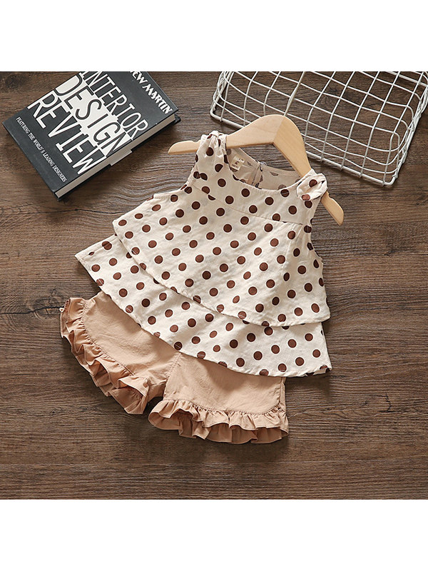 【12M-4Y】Girls Sling Polka Dot Vest And Pants Two-piece Suit