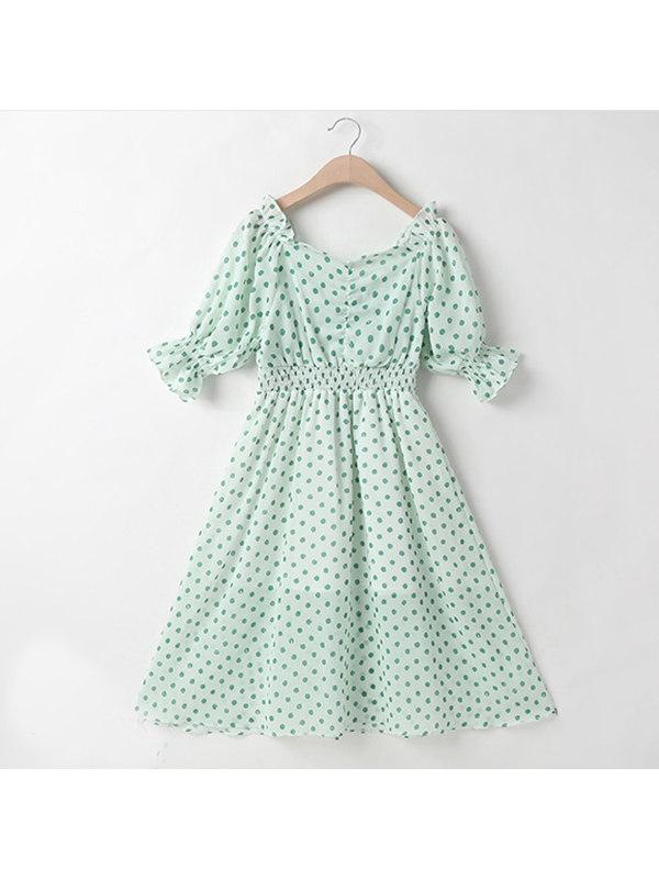 【3Y-13Y】Girls Chiffon Polka Dot Dress