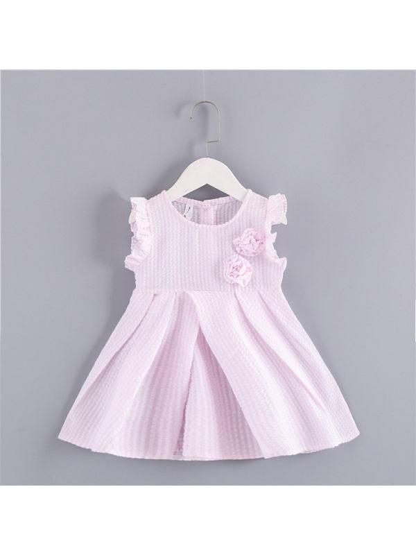 【12M-5Y】Girls' Fine Plaid Waist Princess Dress
