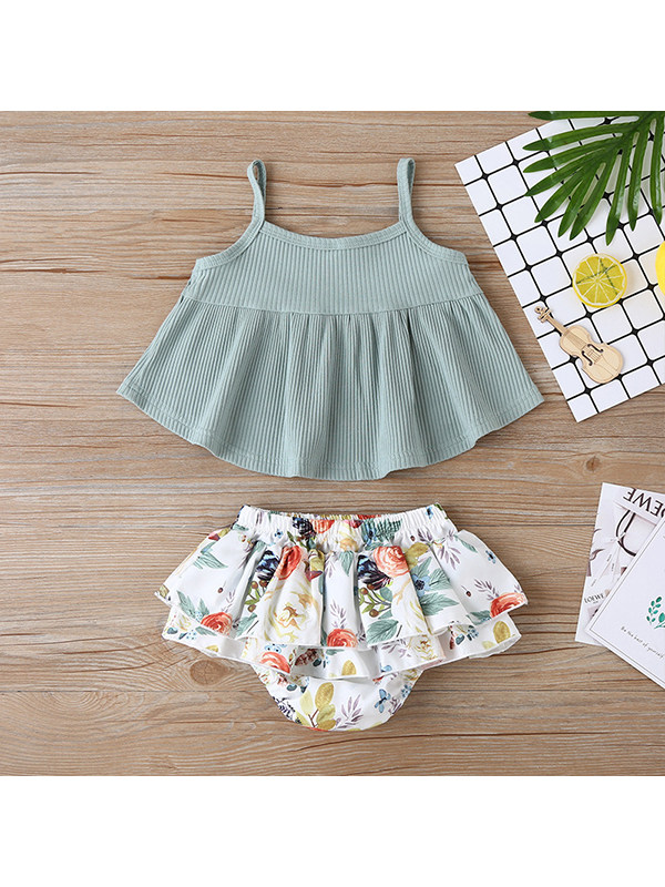 【6M-3Y】Two-piece Baby Girl Sweet Solid Color Sling Sleeveless Top Vest With Printed Briefs