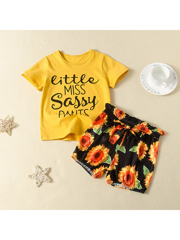 【18M-7Y】Girls Letter Print Short Sleeve Top with Sunflower Flower Printed Shorts Two-piece Set
